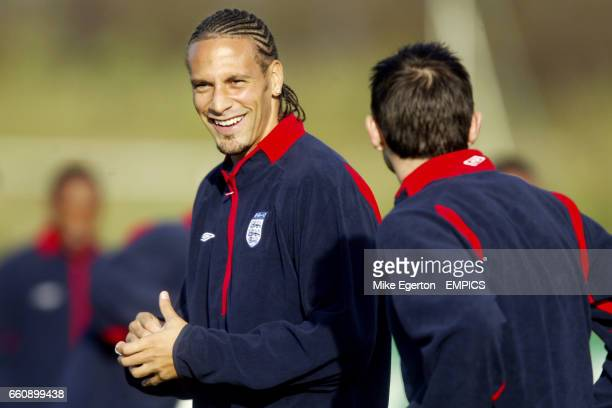 England's Rio Ferdinand has a laugh with Frank Lampard during training