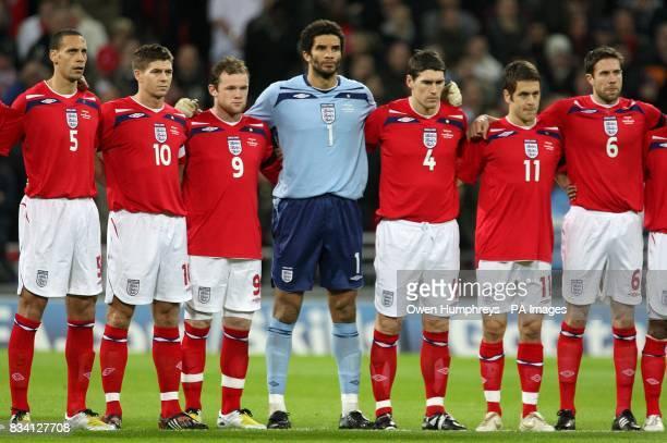England's Rio Ferdinand Steven Gerrard Wayne Rooney David James Gareth Barry Joe Cole and Matthew Upson line up prior to kick off