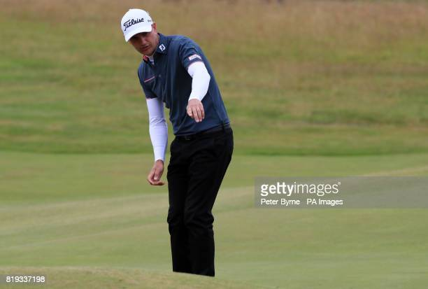 England's Robert Dinwiddie lines up a shot during day one of The Open Championship 2017 at Royal Birkdale Golf Club Southport