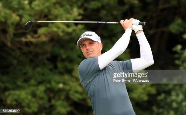 England's Robert Dinwiddie tees off the 5th during day one of The Open Championship 2017 at Royal Birkdale Golf Club Southport