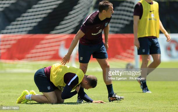 England's Ross Barkley and Phil Jagielka during a training session at Barry University Miami USA
