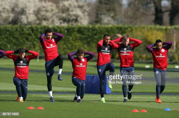England's Ross Barkley Dele Alli Alex OxladeChamberlain Ryan Bertand Luke Shaw and Nathaniel Clyne during the training session at Enfield Training...