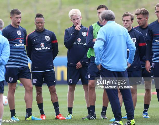 England's Ross Barkley Nathan Redmond and Will Hughes during the training session at St George's Park Burton Upon Trent
