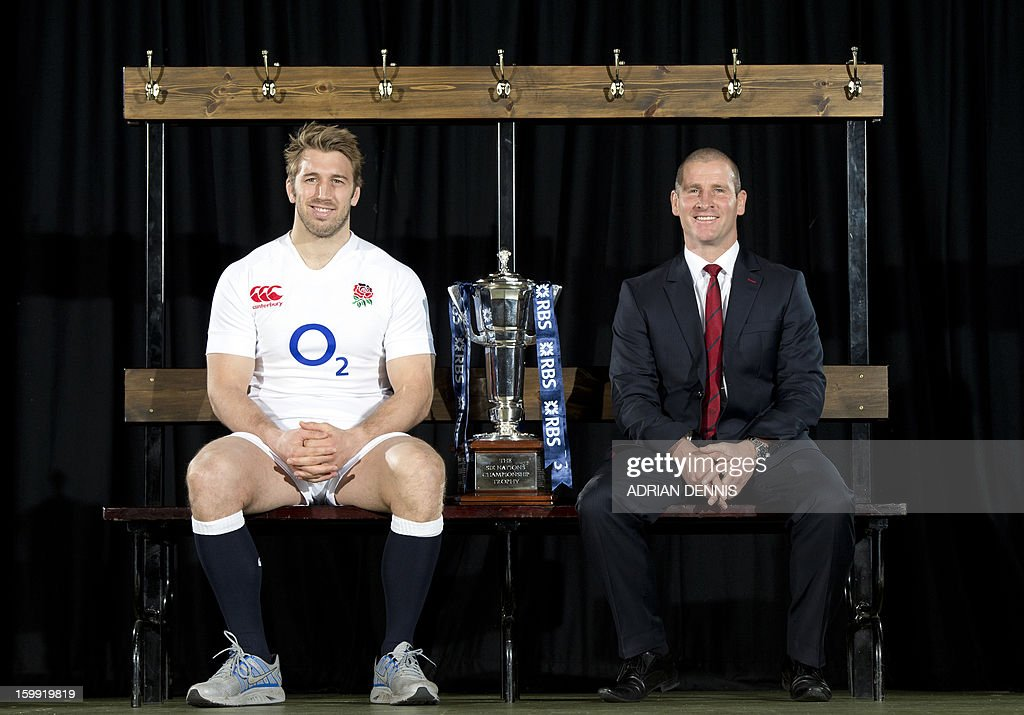 England's rugby captain Chris Robshaw (L) and coach Stuart Lancaster (R) pose for pictures during the official launch of the 2013 Six Nations International rugby tournament at the Hurlingham Club in London, on January 23, 2013. AFP PHOTO / ADRIAN DENNIS