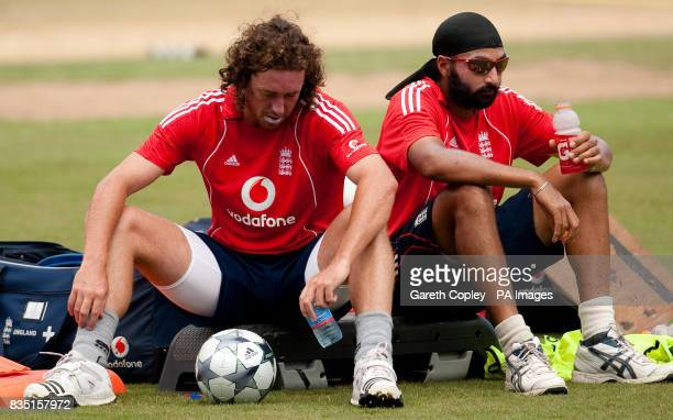 England's Ryan Sidebottom and Monty Panesar during a nets session at St Marys Sports Ground Port of Spain Trinidad