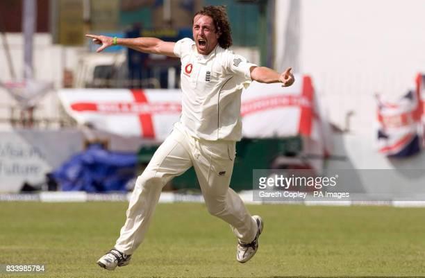England's Ryan Sidebottom celebrates after dismissing Sri Lanka's Kumar Sangakkara for 1 run during the Second Test at the Sinhalese Sports Club...