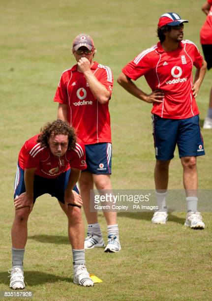 England's Ryan Sidebottom Ian Bell and Amjad Khan during a nets session at St Marys Sports Ground Port of Spain Trinidad