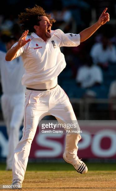 England's Ryan Sidebottom unsuccessfully appeals for the wicket of West Indies' Ramnaresh Sarwan during the First Test at Sabina Park Kingston Jamaica