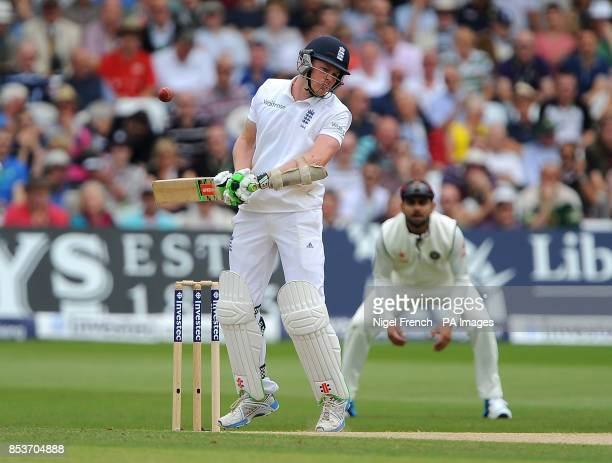England's Sam Robson avoids a short delivery from India's Mohammed Shami during day three of the first Investec test match at Trent Bridge Nottingham