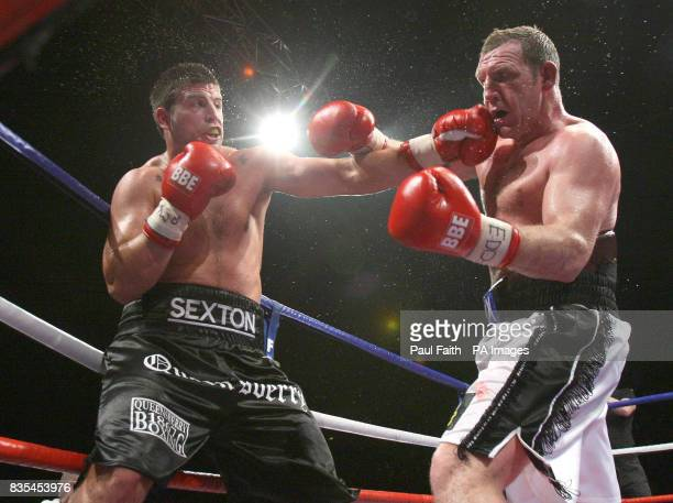 England's Sam Sexton on his way to victory against Ireland's Martin Rogan during the Heavyweight Commonwealth Title bout at the Odyssey Arena Belfast...