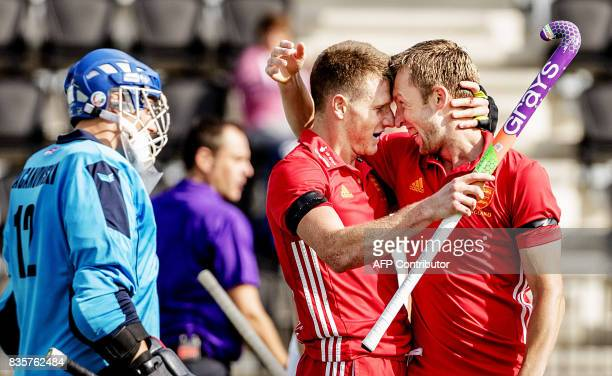 England's Sam Ward and Barry Middleton react after scoring during the men's Hockey Rabo EuroHockey Championships 2017 England and Poland on August 20...