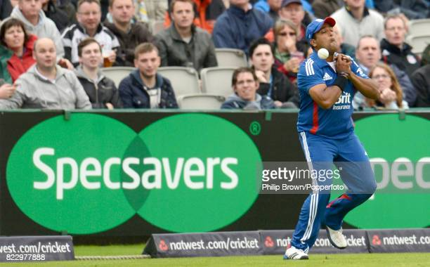 England's Samit Patel drops a catch on the boundary from the bat of Australia's David Warner during the 5th NatWest Series One Day International...