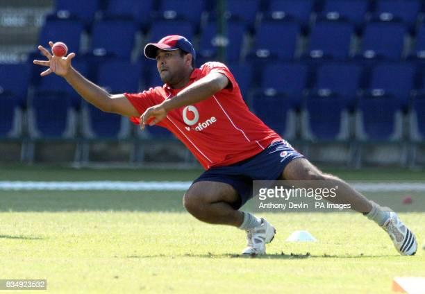 England's Samit Patel practices catching during the training session at the Sheikh Zayed Stadium in Abu Dhabi United Arab Emirates