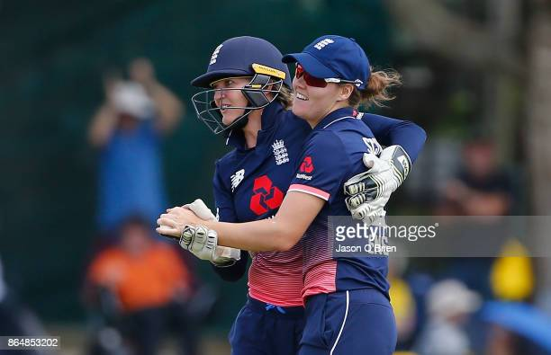 England's Sarah Taylor celebrates after running out Australia's Elyse Villani during the Women's One Day International between Australia and England...