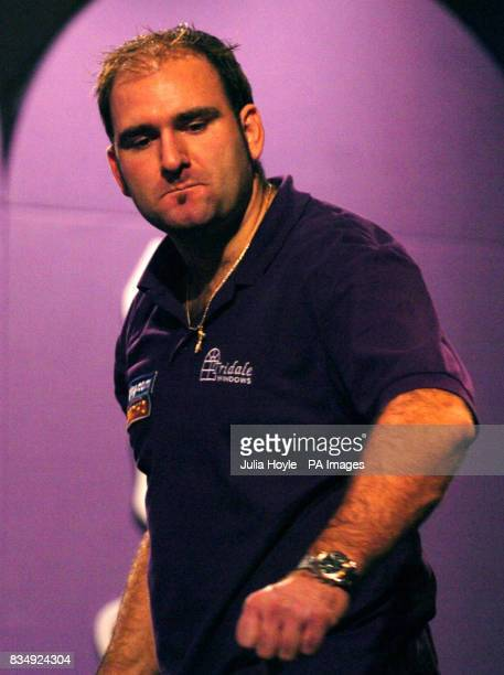 England's Scott Waites reacts during his Final match against England's Martin Adams in the Winmau World Masters at The Spa Bridlington