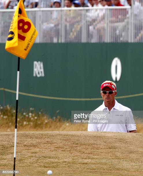 England's Simon Dyson after playing onto the 18th green