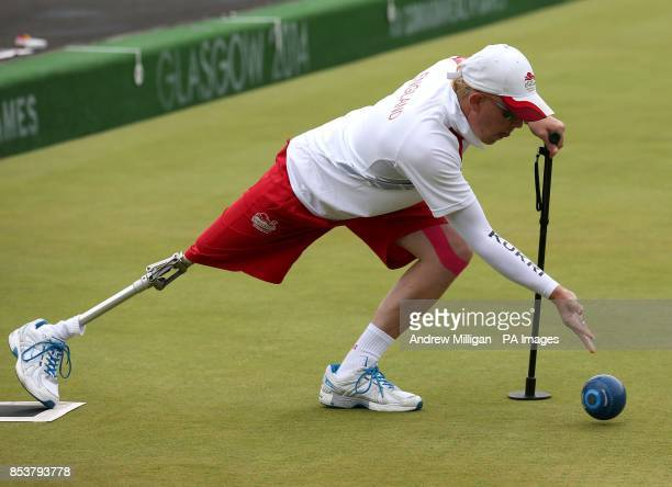 England's skip Paul Brown plays a bowl during his bronze medal match against Scotland in the ParaSport Open Triples B6/B7/B8 match at Kelvingrove...