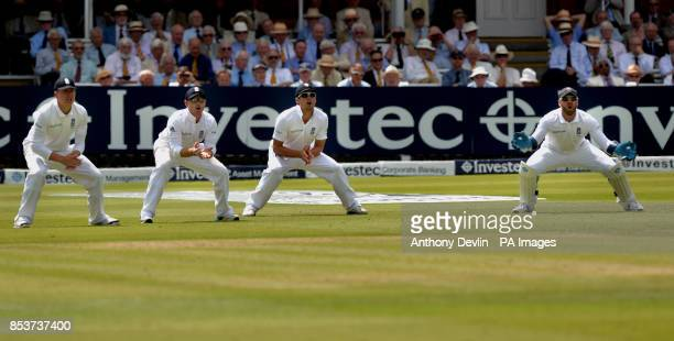 England's slip fielders Gary Ballance Ian Bell Alastair Cook and Matt Prior during day one of the second test at Lord's Cricket Ground London