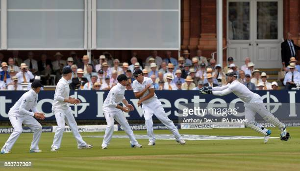 England's slip fielders Joe Root Gary Ballance Ian Bell and Alastair Cook lookon as Matt Prior catches the ball during day one of the second test at...