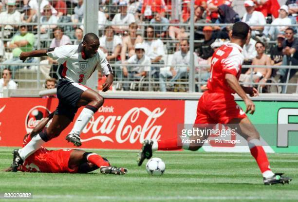 England's Sol Campbell in action during their first round World Cup match against Tunisia at Marseille today Final score England 2 Tunisia 0 Photo by...