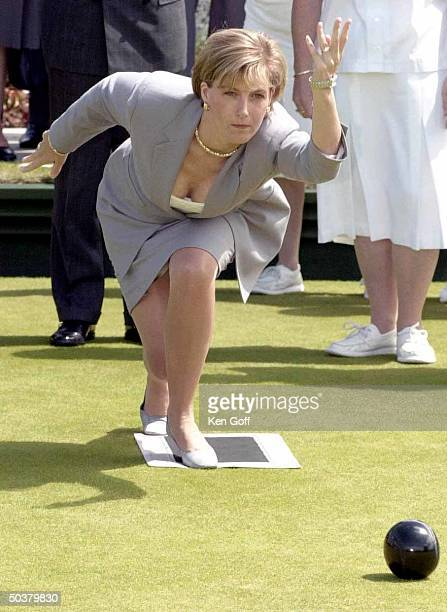 England's Sophie Countess of Wessex trying her hand at bowling at Taunton Deane Bowling Club after she and the unseen Duke opened the new bowling...