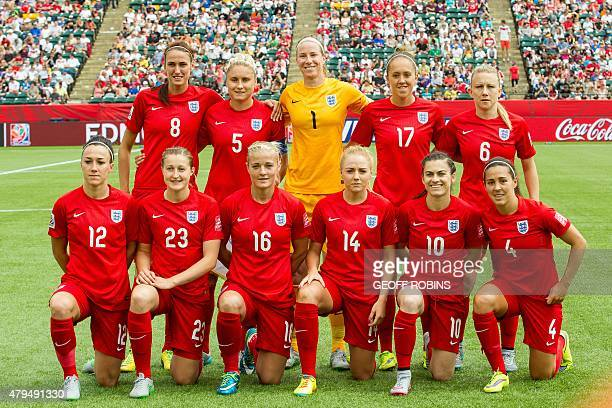 England's starting 11 for their bronze medal match against Germany at the FIFA Women's World Cup in Edmonton Canada on July 4 2015 AFP PHOTO/GEOFF...