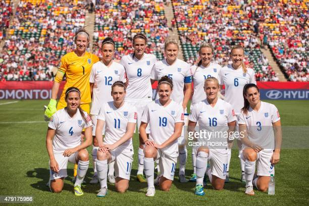 England's starting 11 pose before their semifinal match against Japan at the FIFA Women's World Cup at Commonwealth Stadium in Edmonton Canada on...