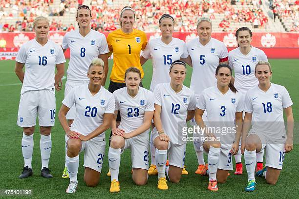 England's starting lineup of back row from left Katie Chapman Jill Scott Karen Bardsley Casey Stoney Steph Houghton Karen Carney and front row from...