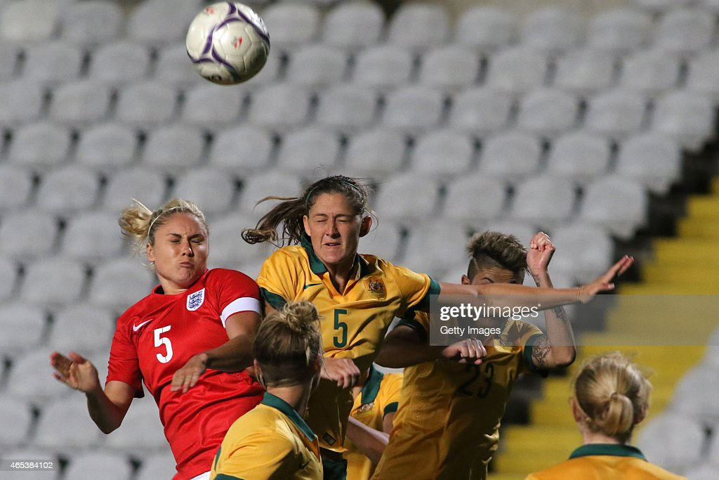 England's Steph Houghton and Australia's Laura Alleway in action during the Cyprus Cup match between England and Australia at GSP stadium on March 6...