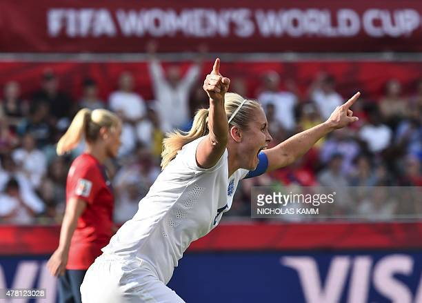 England's Steph Houghton celebrates her goal against Norway during their 2015 FIFA Women's World Cup Round of 16 football match at Lansdowne Stadium...