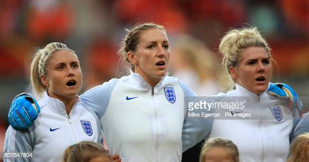England's Steph Houghton Siobhan Chamberlain and Millie Bright before the game