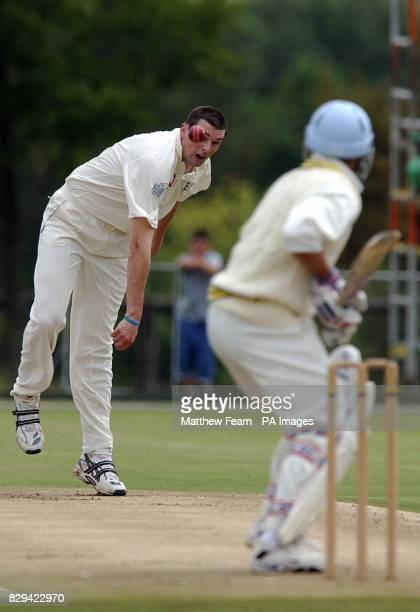 England's Stephen Harmison bowls to Francois Du Plessis during their friendly oneday match against the Nicky Openheimer XI at Randjesfontein South...