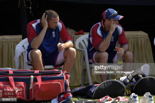 England's Steve Harmison and Andrew Strauss during a nets practice session at the Sardar Patel Stadium Ahmedabad India