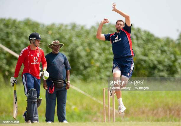 England's Steve Harmison bowls watched by Steven Davies during a nets session at Everest Cricket Ground Georgetown Guyana
