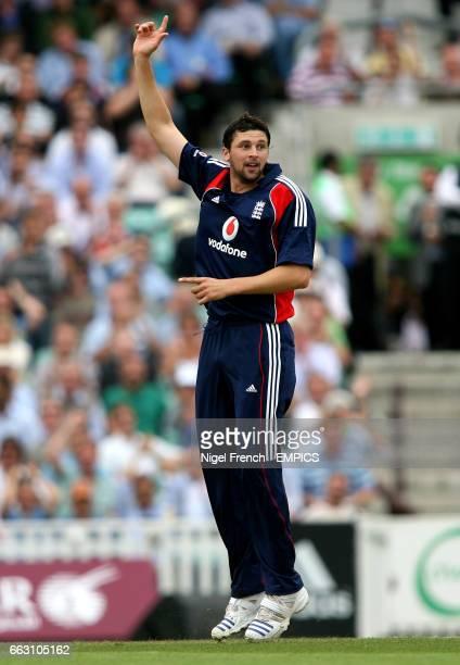 England's Steve Harmison celebrates after taking the wicket of South Africa's Hashim Amla