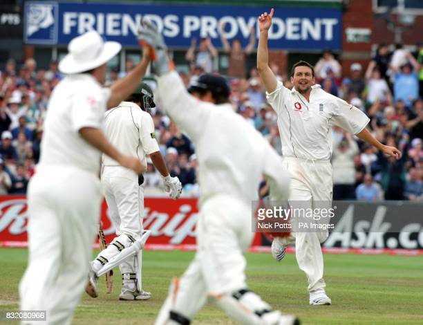 England's Steve Harmison celebrates taking the wicket of Pakistan's Shahid Afridi during the third day of the second npower Test match at Old...