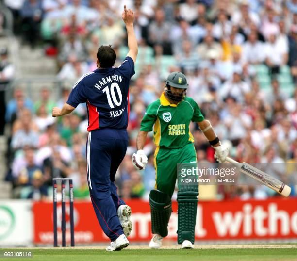 England's Steve Harmison claims the wicket of South Africa's Hashim Amla