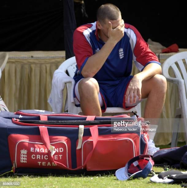 England's Steve Harmison during a nets practice session at the Sardar Patel Stadium Ahmedabad India