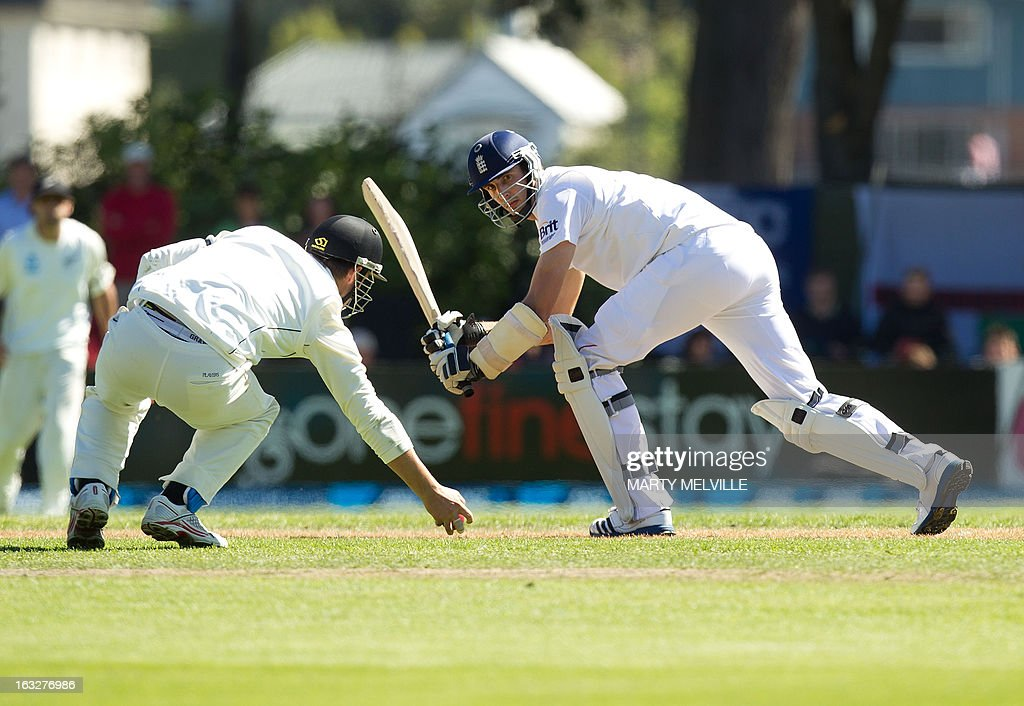 England's Steven Finn bats during day two of the first international cricket Test match between New Zealand and England played at the University Oval park in Dunedin on March 7, 2013. AFP PHOTO / Marty MELVILLE