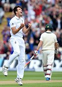 England's Steven Finn celebrates taking the wicket of Australia's Steven Smith for 7 runs on the first day of the third Ashes cricket test match...