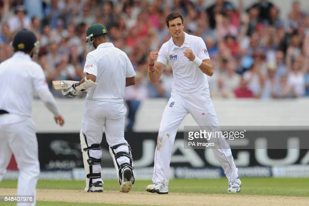 England's Steven Finn celebrates taking the wicket of South Africa's Vernon Philander during the Investec Second Test match at Headingley Carnegie...