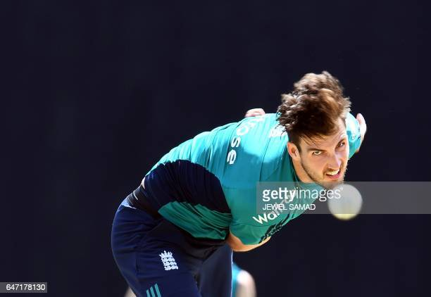 TOPSHOT England's Steven Finn delivers a ball during a practice session at the Sir Vivian Richards Stadium in St John's Antigua on March 2 2017...