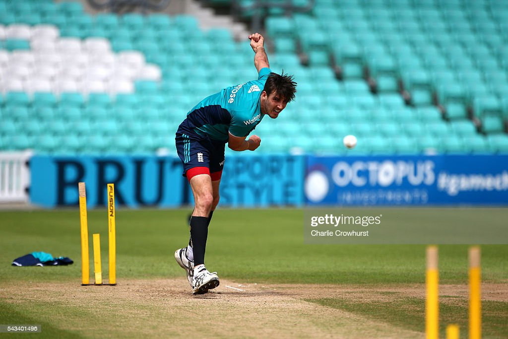 England's <a gi-track='captionPersonalityLinkClicked' href=/galleries/search?phrase=Steven+Finn+-+Cricketer&family=editorial&specificpeople=7843917 ng-click='$event.stopPropagation()'>Steven Finn</a> in action during an England & Sri Lanka Nets Session at The Kia Oval on June 28, 2016 in London, England.