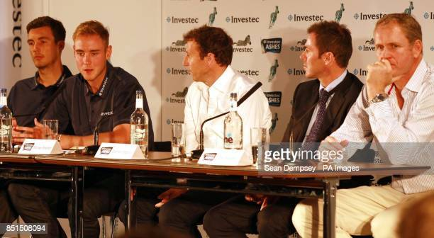 England's Steven Finn Stuart Broad former player Michael Atherton Damien Martyn and Former Australian cricketer Tom Moody during the press conference...