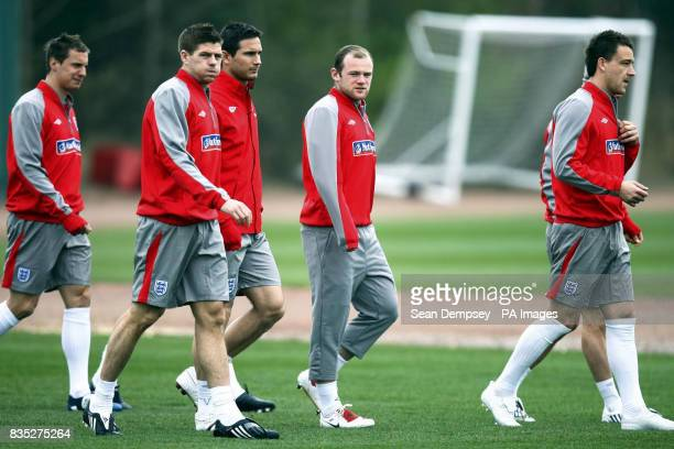 England's Steven Gerrard Frank Lampard Wayne Rooney and John Terry during a training session at London Colney Hertfordshire