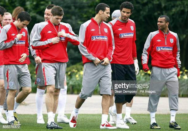 England's Steven Gerrard Rio Ferdinand David James and Ashley Cole during a training session at London Colney Hertfordshire