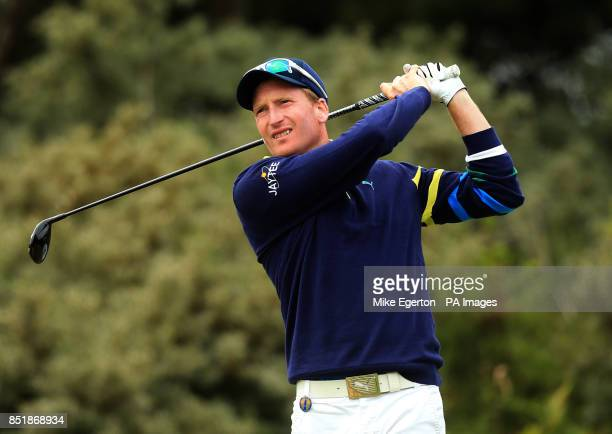 England's Steven Tiley tees off on the third hole during day four of the 2013 Open Championship at Muirfield Golf Club East Lothian