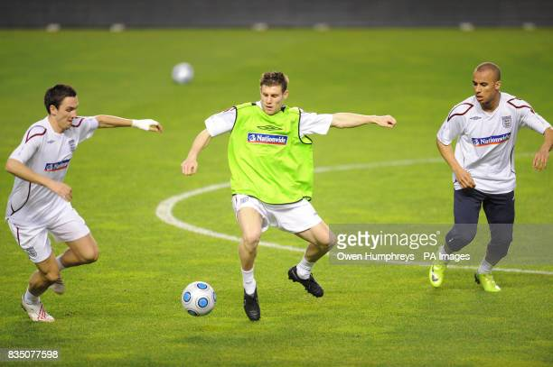England's Stewart Downing James Milner and Gabriel Agbonlahor during a training session at the Ramon Sanchez Pizjuan Stadium in Seville Spain