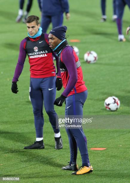 England's striker Daniel Sturridge takes part in a training on October 7 2017 in Vilnius Lithuania on the eve of the 2018 FIFA World Cup European...