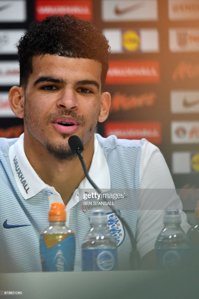 England's striker Dominic Solanke takes part in a press conference at Tottenham Hotspur's Enfield Training Centre, north-east of London, on November 13, 2017 on the eve of their International friendly football match against Brazil. / AFP PHOTO / Ben STANSALL / NOT